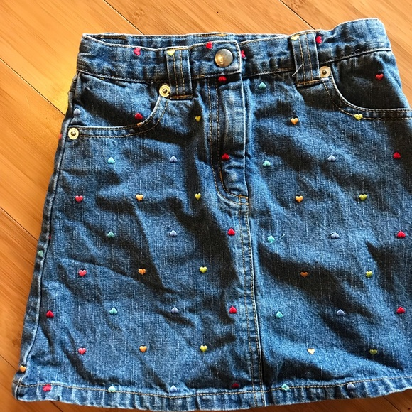 Gymboree Other - Denim Skirt with embroidered hearts!!